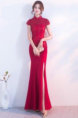 Wine Red Mandarin Collar Cap Sleeves High Slit Mermaid Cheongsam