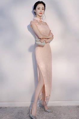 Cream/Peach Mandarin Collar Cap Sleeves Cheongsam