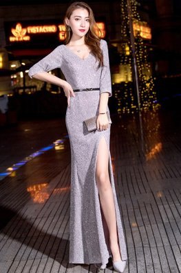Grey V-Neck Elbow Sleeves High-Slit Floor Length Gown (Express)