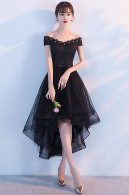 Black Gem Off-Shoulder Hi-Lo Gown (Express)