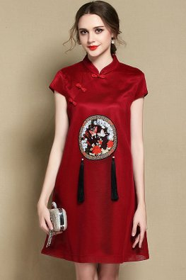 Pink / Red Embroidery Tassels A-Line Cheongsam