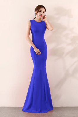 Assorted Colours Round Neck Sleeveless Floor Length Mermaid Gown