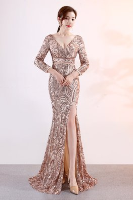 Gold V-Neck Long Sleeves Sheer Sequin High Slit Mermaid Gown (Express)