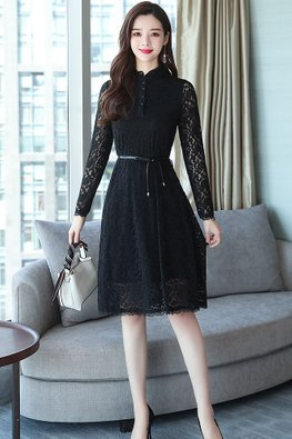 Black Button Long Sleeves Lace Dress (Express)