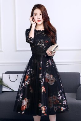 Black Elbow Sleeves Lace Floral Mesh A-Line Dress