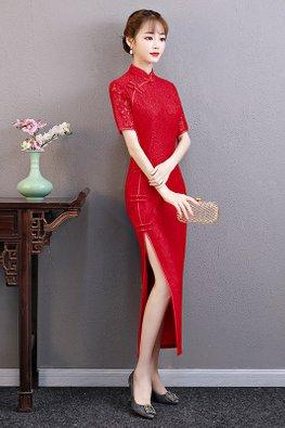 Red Mandarin Collar Chinese Knots Cheongsam