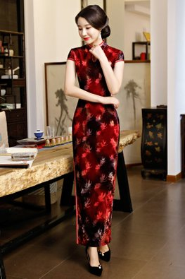 Red Black Mandarin Collar Cap Sleeves Keyhole Cheongsam