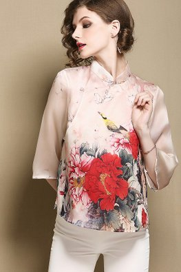 Pink Printed Floral Silk Cheongsam Top