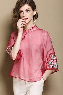 Red Mandarin Collar Embroidery Sleeves Cheongsam Top