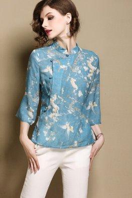Blue Mandarin Collar 3/4 Sleeves Cheongsam Top