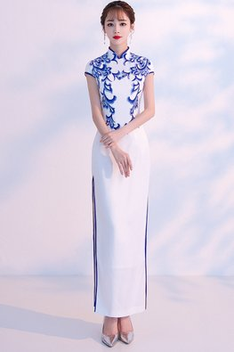 White Blue Trimmings Cap Sleeves Embroidery Cheongsam