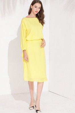 Yellow Bateau Neckline Long Sleeves Dress