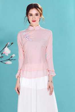 Pink Layer 3D Embroidery Cheongsam Top