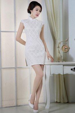 White Cap Sleeves Lace Cheongsam