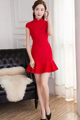 Pink / Red Cap Sleeves Mermaid Lace Cheongsam