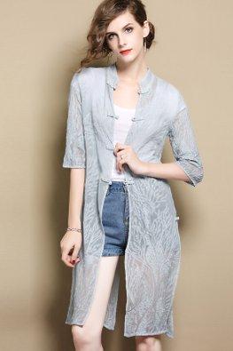 Blue Elbow Sleeves Cheongsam Outerwear