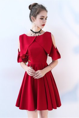 Wine Red Cold-Shoulder A-Line Dress (Express)
