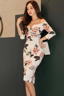 White Off-Shoulder Sweetheart 3/4 Sleeves Floral Dress