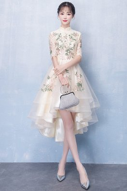Champagne Mandarin Collar Embroidery Hi-Lo Gown (Express)
