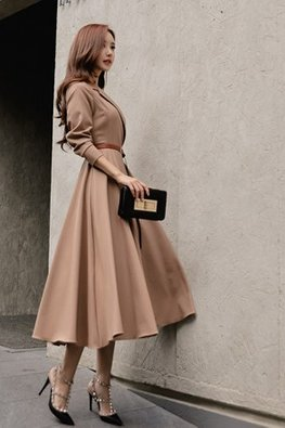 Brown Lapel Collar Long Sleeves Dress