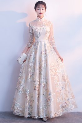 Champagne Illusion Mandarin Collar 3/4 Sleeves Embroidery Gown