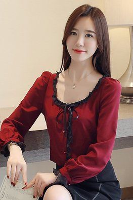 Maroon Round Scoop Neckline Lace Trimmings Top (Express)
