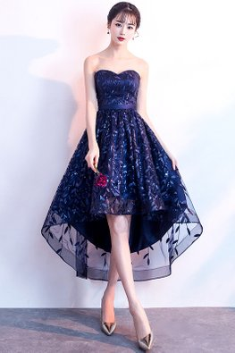 Navy Blue Sweetheart Leaf Embroidery Hi-Lo Lace-Up Gown (Express)