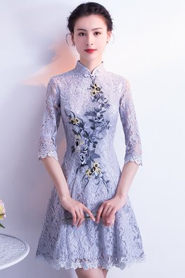 Grey Mandarin Collar Floral Embroidery Lace Cheongsam
