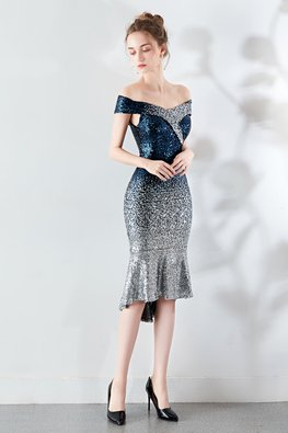 Blue Silver Off-Shoulder Sweetheart Sequin Hi-Lo Mermaid Dress (Express)