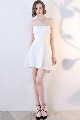 White Pleated Straight Across Hi-Lo Mini Dress