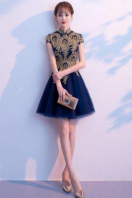 Navy Blue Mandarin Collar Applique A-Line Mini Gown (Express)