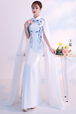White Blue Cape Sleeves Cheongsam