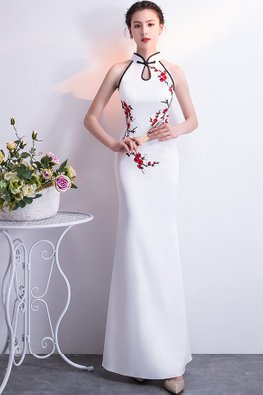 White Black Trimmings Red Floral Keyhole Neckline Cheongsam