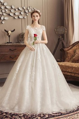 Illusion Neckline Lace Bodice Open Back Wedding Gown with Chapel Train
