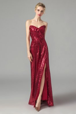 Red Sweetheart Side Slit Sequins Gown
