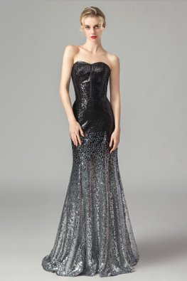 Ombre Black Sweetheart Fit & Flare Sequins Lace-Up Gown