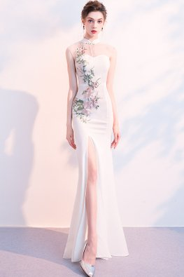 White Mandarin Collar Illusion Sweetheart Floral Embroidery Gown (Express)