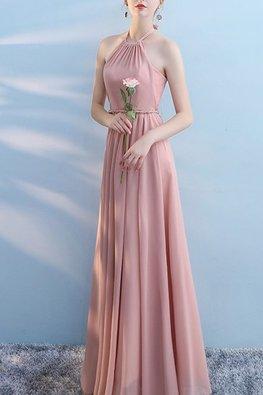 Pink Halter Ribbon Neck Rope Twist Dress