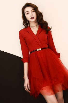 Assorted Colours Faux Wrap Lace Gown