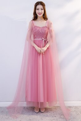 Pink Sweetheart Cape Sleeves Ribbon Dress