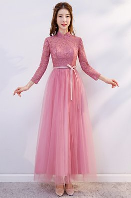 Pink Mandarin Collar Long Sleeves Open Cut-Out Back Dress