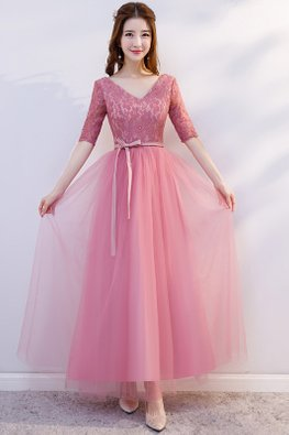Pink V-Neck Elbow Sleeves Ribbon Lace-Up Dress