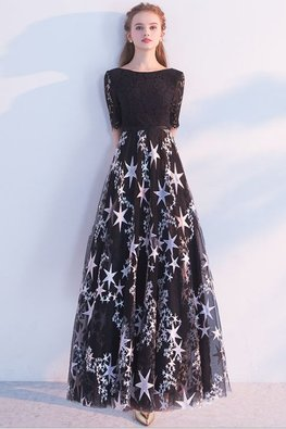 Black Lace Sleeves Twinkle Stars Short/Long Gown