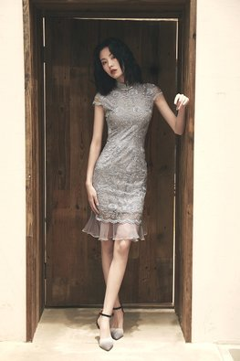 Assorted Colours Lace Embroidery Mermaid Cheongsam