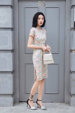 Pastel Mandarin Collar Embroidery Cheongsam