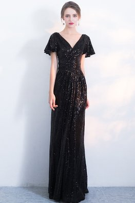 Black / Rose Gold V-Neck Butterfly Sleeves Sequins Gown (Express)