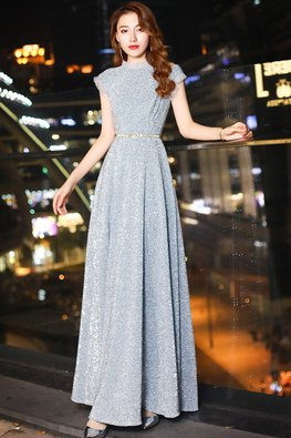 Grey Silver Ruffle Neckline Sleeves Cut-Out Shoulder Gown