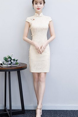 Off-White Red Ruby Side Knots Lace Cheongsam