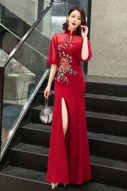 Wine Red Mandarin Collar Illusion Elbow Sleeves Floral Embroidery Gown