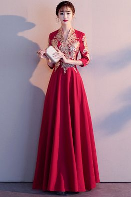 Wine Red Long V-Neck Embroidery A-Line Gown (Express)